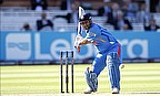Mahendra Singh Dhoni prepares to play a shot for India