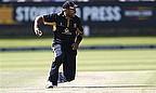 Jeetan Patel slides in the field.