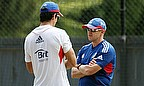 England's Alastair Cook Speaks To Andy Flower