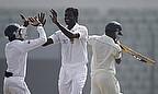 Shaminda Eranga celebrates a wicket