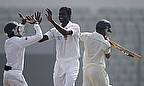 Shaminda Eranga celebrates a wicket with team-mates