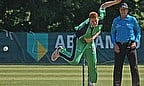 Kevin O'Brien bowling for Ireland