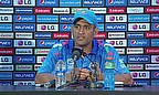 MS Dhoni addresses the media following India's win over the West Indies