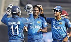 Ajantha Mendis is congratulated