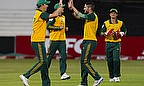South Africa players celebrate a wicket