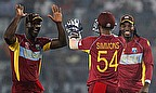 West Indies celebrate a wicket during their massive win over Bangladesh