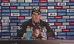 Aaron Finch talks to the media following Australia's win over Bangladesh