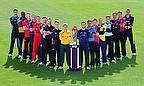 Team representatives pictured with the NatWest T20 Blast trophy at Edgbaston