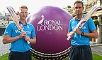 Ben Stokes (left) and Stuart Broad pictured at the launch of Royal London's sponsorship of English one-day cricket