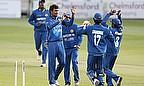 Suranga Lakmal (second left) celebrates dismissing Greg Smith