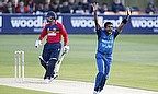 Dammika Prasad appeals successfully for the wicket of Ravi Bopara, LBW