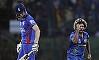 Lasith Malinga celebrates the wicket of Alex Hales