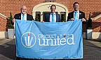 Mike Gatting, Andrew Strauss and Richard Gould with the Cricket United flag