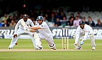 Gary Ballance reverse sweeps during his maiden Test century