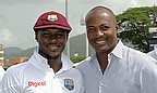 Jermaine Blackwood received his Test cap from Brian Lara before play began