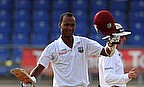 Kraigg Brathwaite celebrates reaching his maiden Test century