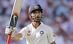 Ajinkya Rahane raises his bat