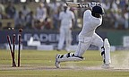 Angelo Mathews is bowled by Imran Tahir