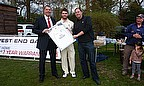 Darren Redwood pictured receiving a new playing shirt for this season from Valley End sponsors - Kia West End Garage