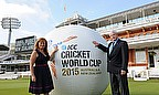 Danielle Genty-Nott and Sir Richard Hadlee at Lord's with the giant inflatable ball