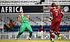 South Africa celebrate during the West Indies innings in the final