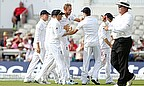 England celebrate an Indian wicket