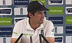 Alastair Cook talks to the media following England's win at Emirates Old Trafford