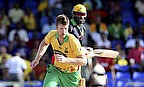 Jimmy Neesham (front) was one of four Guyana bowlers to take a wicket