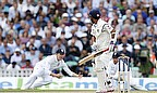 Gary Ballance dives to dismiss Ajinkya Rahane