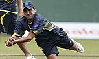 Younus Khan takes a catch in training