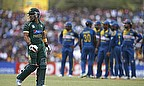 Umar Akmal departs during Pakistan's innings