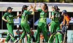 Ireland players celebrate a wicket