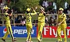 Australia women celebrate a wicket