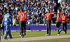 Woakes celebrates during England's Twenty20 International win over India
