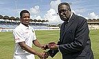 Leon Johnson is given his Test cap by Clive Lloyd