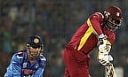 Action from India v West Indies