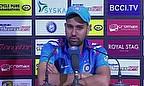 Rohit Sharma talks to the press following his innings of 264 against Sri Lanka