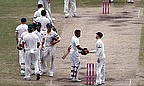 Australian and Indian players shake hands after the fourth and final Test in Sydney was drawn