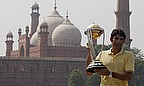 Misbah-ul-Haq, pictured here with the World Cup trophy, will retire from ODIs after the World Cup