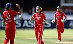 Laura Marsh celebrates a wicket