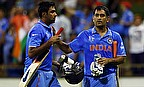 Ravichandran Ashwin (left) and MS Dhoni (right) put on an unbeaten 51-run partnership as India defeated West Indies