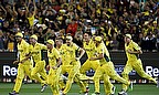 Australia players celebrate their World Cup win over New Zealand