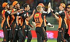 Sunrisers Hyderabad celebrate their 16-run victory against Kolkata Knight Riders in a rain-affected game.