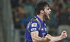 Mitchell McClenaghan and Lasith Malinga shared seven wickets between them as Mumbai Indians successfully defended 157 against Sunrisers Hyderabad.