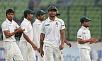 Shakib Al Hasan and team-mates leave the field