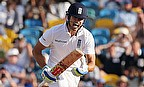 Alastair Cook celebrates his century against West Indies in the third Test in Barbados.