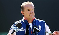 Andy Flower talks at a press conference