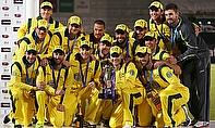 Australia celebrate an ODI series win