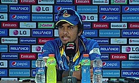 Dinesh Chandimal talks to the media following Sri Lanka's thumping win over the Netherlands