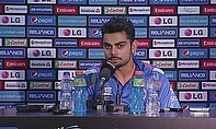Virat Kohli talks to the media after his innings against South Africa